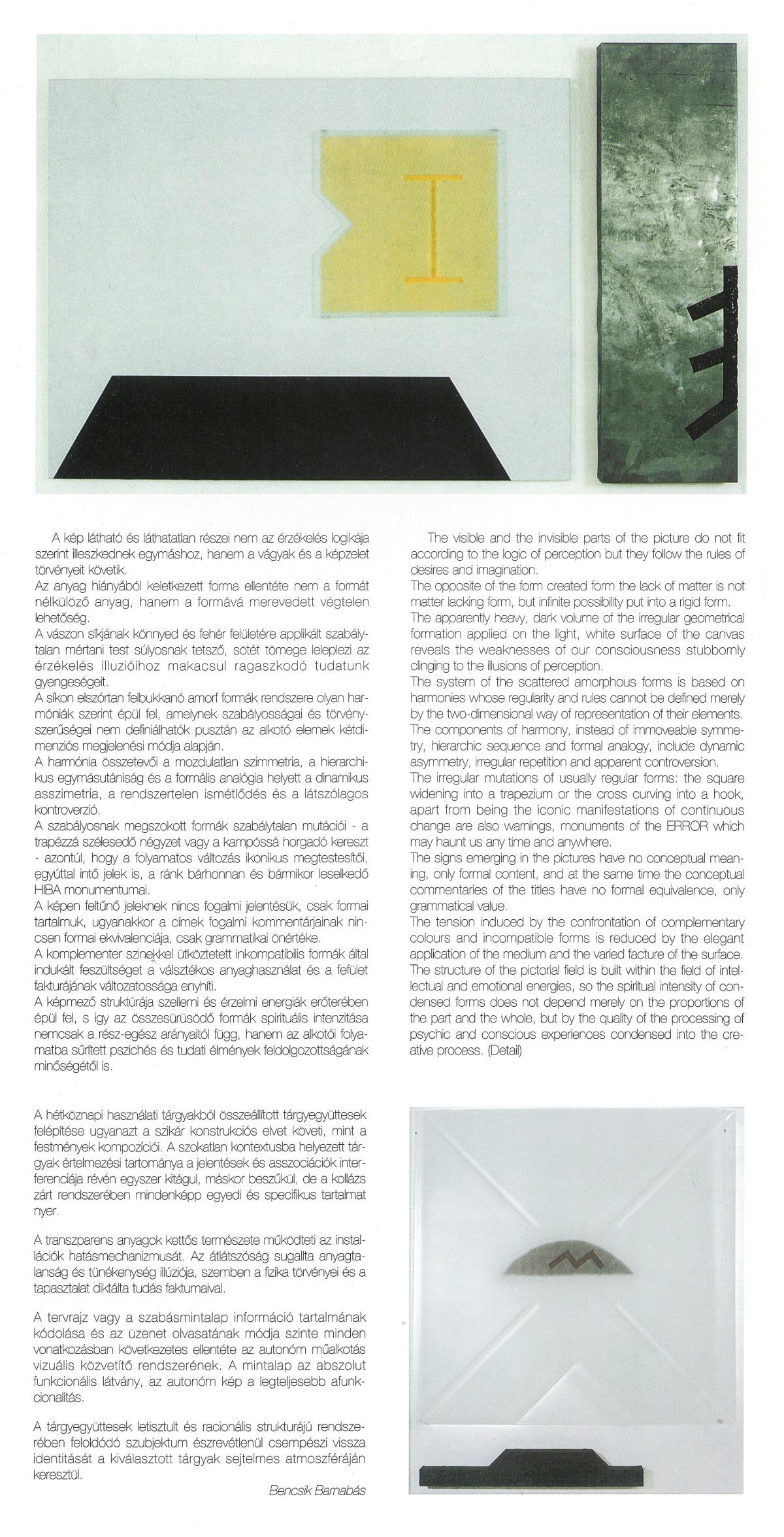 Bencsik Barnabás: Vincze Ottó művei (katalógus bevezető), Művésztelepi Galéria, Szentendre