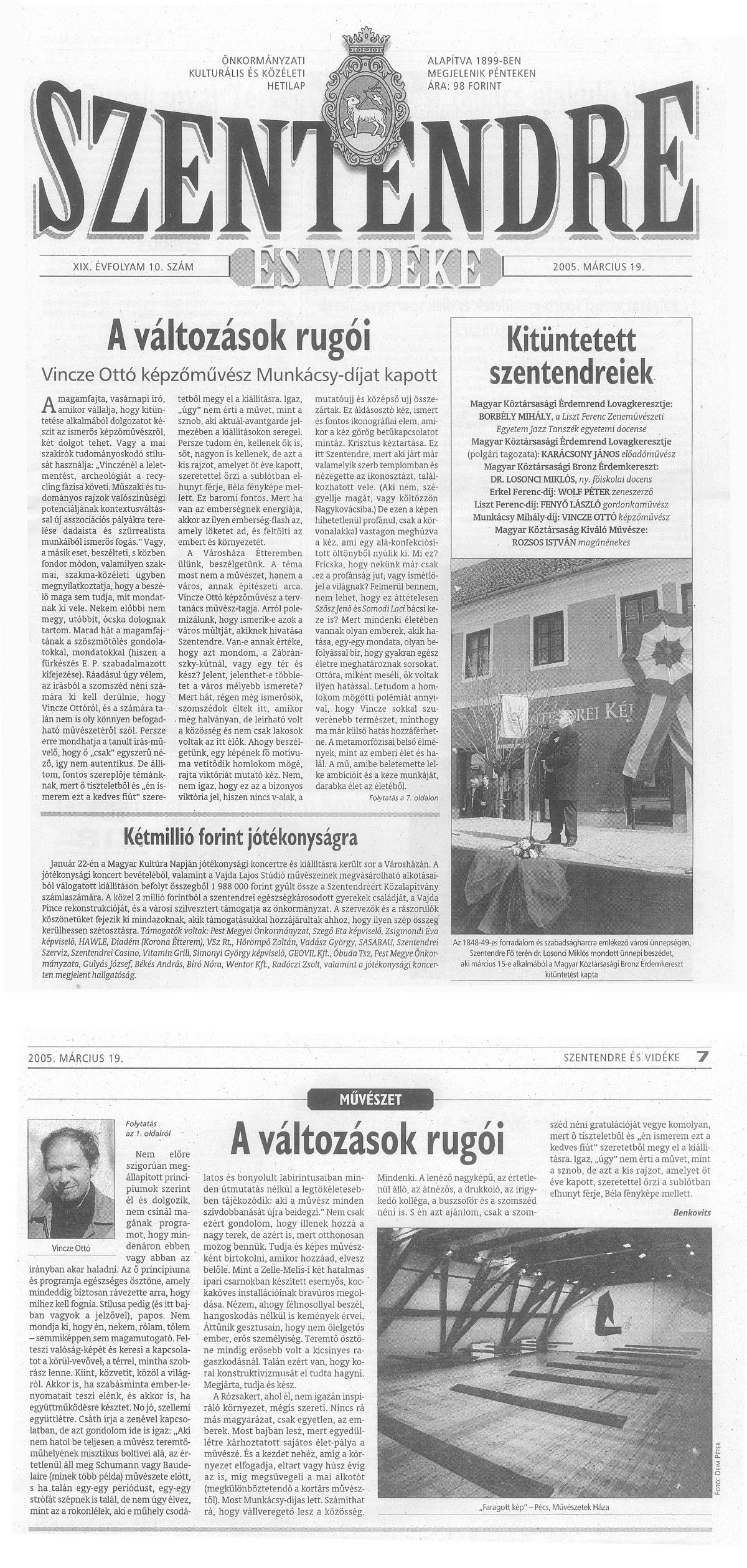 Benkovits György: A változások rugói, Szentendre és Vidéke