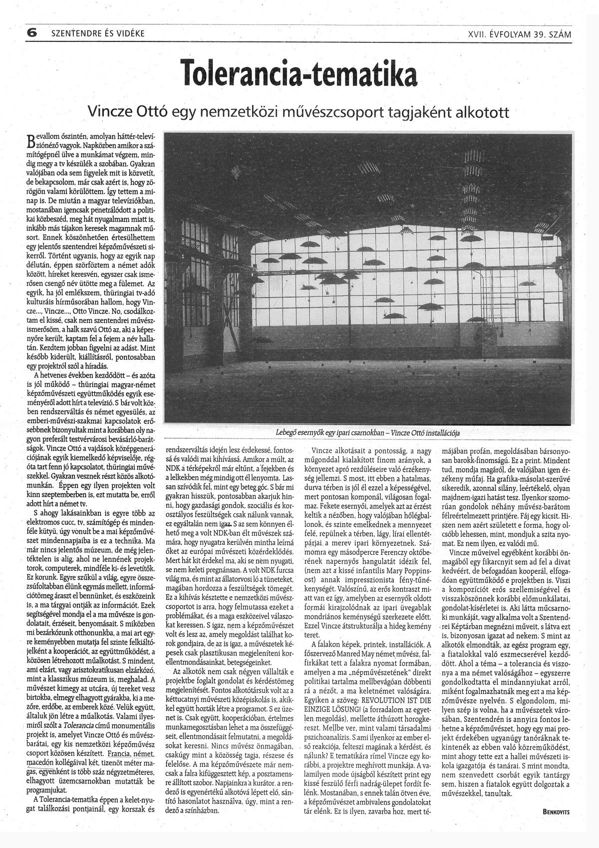 Benkovits György: Tolarencia-tematika, Szentendre és Vidéke