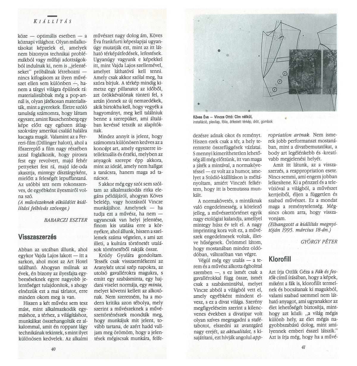 György Péter: Visszaszerzés, Új Művészet