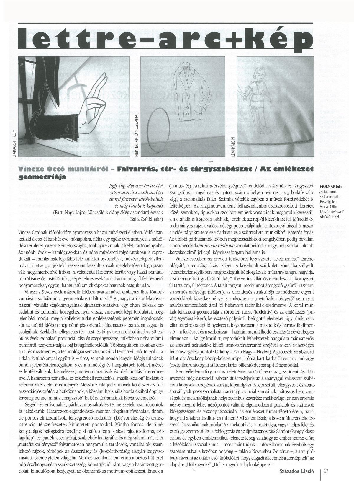 Százados László: Falvarrás, tér-és tárgyszabászat / Az emlékezés geometriája, Lettre Internationale